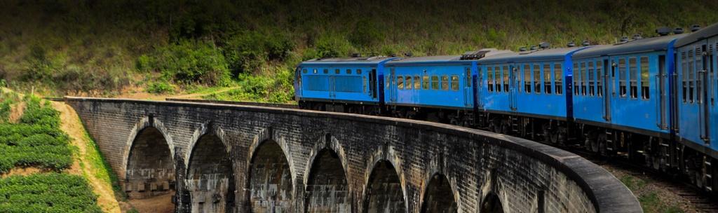 Scenic train ride on nine arches bridge in Sri Lanka